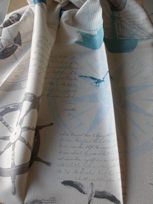 SAILING hajó mintás pamutos bútorszövet