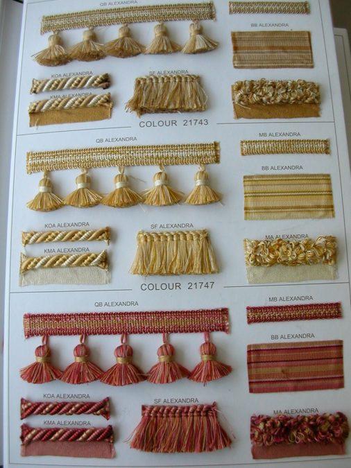Pamutos paszományok mogyoró, arany és mályva színben