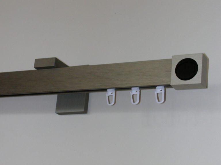 LUXOR modern, belső csúszású rúdkarnis garnitúra, acél hatású