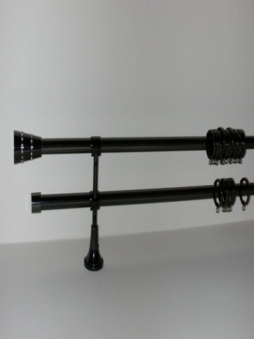 VIDELLA 19 mm–es, 2–soros rúdkarnis garnitúra Onyx színben