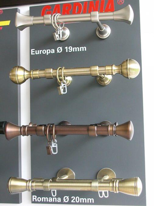 EUROPA/19 és ROMANA/20 rúdkarnis garnitúrák