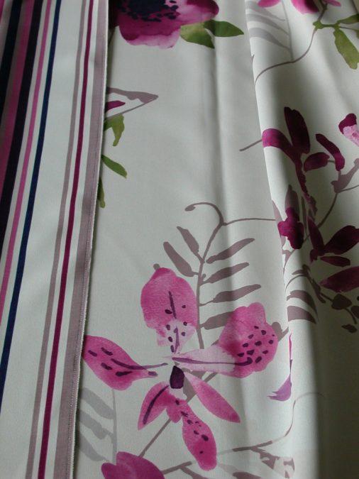 E2372. Lángmentes színes virág mintás Dim out függöny